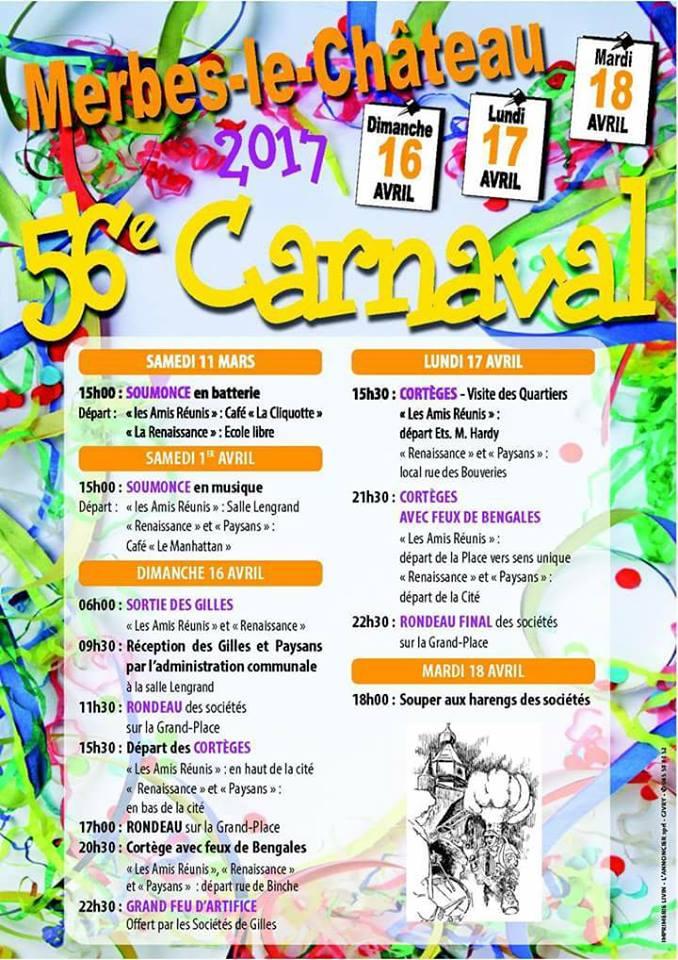 2017 -  Dimanche 16 avril au mardi 18 avril 2017  56eme MERBES-LE-CHÂTEAU Carnaval-de-merbes-le-chateau-2017-belgique